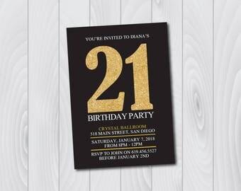 21st Birthday Invitation/Printable Gold & Black Birthday Invitation/e-card invitation/Template/Birthday Invitation/Surprise Birthday Party