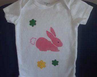Bunny onesie, 0-3 months, Carter onesie with bright pink bunny