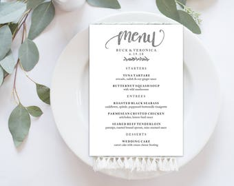 Wedding Menu Printable, Menu Editale Template | Menu Printable, Reception Printable, Hand lettered, SILVER Dinner Menu 5x7"
