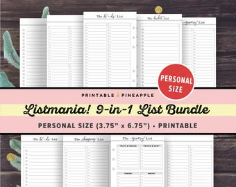 PERSONAL Size Inserts: To Do List Printable Bundle- LISTMANIA, Grocery List, Filofax Personal Planner, Kikki K, Bucket List, Shopping List