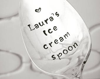 Personalized Ice Cream Spoon / Monogrammed Spoon / Hand Stamped Spoon / Gift For Dad / Custom Spoon / Add Your Name / Gift For Child