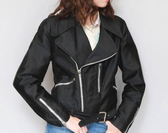 Vintage 1970's Black Fabric Belted Biker Jacket