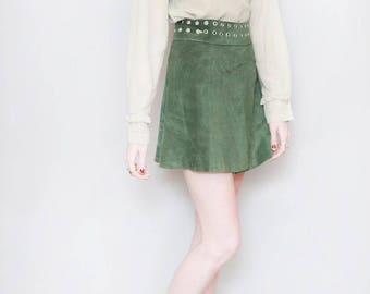 Vintage 1970's Forest Green Suede Wrap Front Mini Skirt