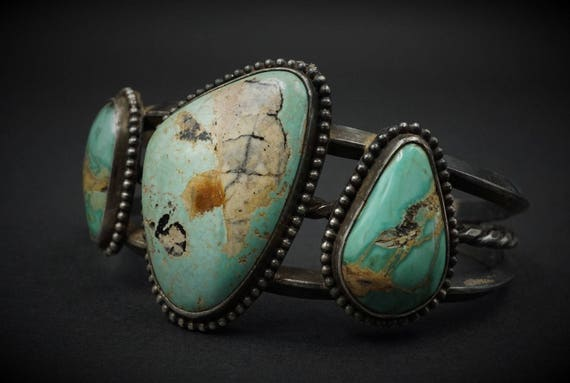 "Artisan Navajo Heavy Sterling Silver Turquoise Cuff Bracelet 7"" Signed RP BS1005"