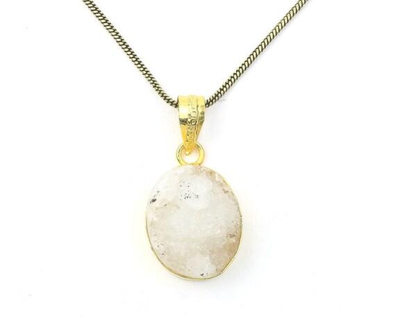 Quartz Druzy Brass Necklace, Quartz Drusy, Crystal Necklace, Raw Stone Jewelry, Festival Jewelry, Boho, Hippie