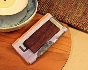 Money Clip, Card Holder, Engraved, Native Australian Jarrah, Natural, Silver, Wooden, Handmade Gift, Groomsman Groom, Wedding, Personalized