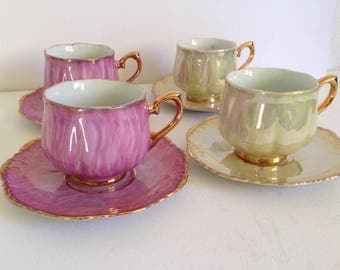 Set of 4 vintage Porcelain Lusterware Pink and Yellow Cups and Saucers