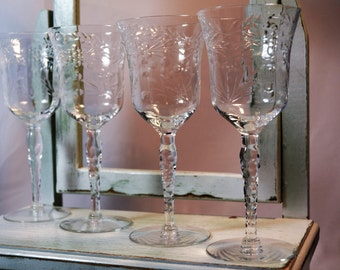 Libbey Rock Sharpe, Set of Four, Vintage Stemware,