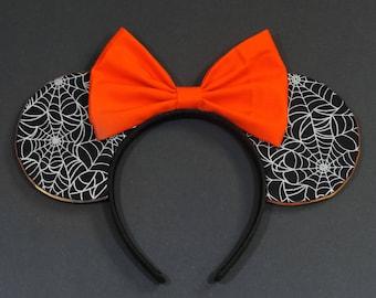 Halloween Minnie Ears - Halloween Inspired Ears - Disney Ears - Minnie Mouse Ears - Spider Web Ears - Black and Orange Ears - MNSSHP Ears