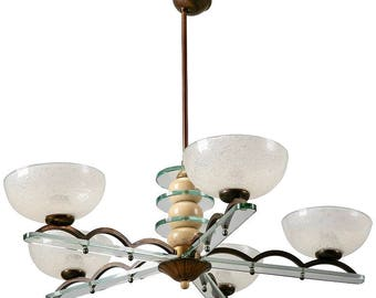 Circa 1940s Paolo Buffa Style Five Light Chandelier [5160]