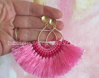 PINK Boho Fringe Statement Earrings | post earrings, multicolored, dangle, drop, lightweight, tassel, multicolor