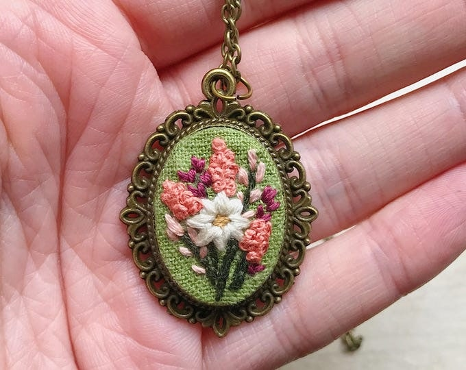 Hand Embroidered Wildflower Pendant