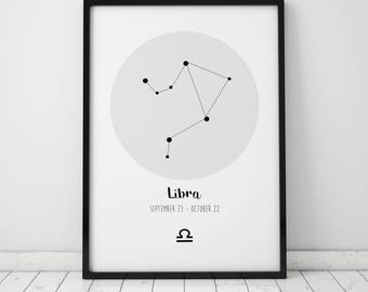 Libra Zodiac Constellation Print  - Star Sign - Birthday Gift
