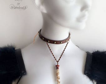 Leather choker necklace. Alice in WastelandS steampunk choker necklace with snake shed vial. Medical vial necklace. Faux leather choker.