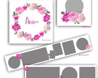 3x3 Accordion Template , Flower, Peony,Accordion Book Template, Accordion Mini Book for Girls, Instant Download