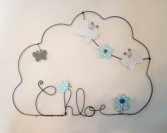 Cloud wire personalized butterflies and flowers blue gray CHLOE name Decoration