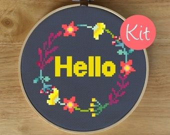 Hello Floral Wreath Cross Stitch Kit - Modern Quote Cross Stitch Pattern