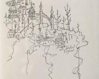 Castle A | Pen and Ink Drawing | Original Art