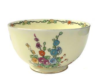 Rare Vintage 1920s Crown Staffordshire Large Art Deco Bowl Hand Painted Gilt Porcelain Hollyhocks English Pottery Shabby Chic Ceramic