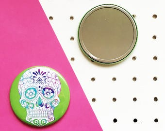 Sugar Skull Pocket Mirror, Compact Mirror, Accessory, Day of the dead, Purse Mirror, Gifts for her, Stocking filler, Christmas Gift