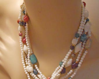 Necklace - 20 Inches Long - What a pretty Multi Colored Necklace -