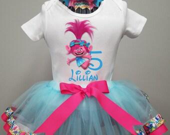 Trolls Tutu Outfit, Poppy Birthday Shirt, Poppy Hair Bow, Girls Ribbon Edge Tutu,  Smash Cake Outfit, Aqua and Pink Party