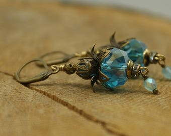 Turquoise blue crystal earrings