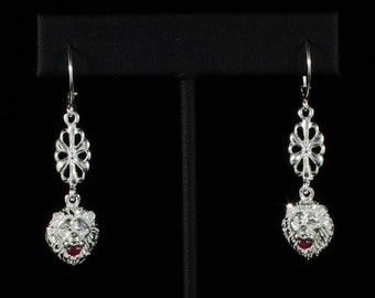 Lion Holding Red Stone in Mouth with Extender Flower Earring in Sterling Silver