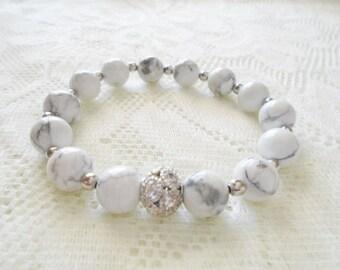 Howlite silver crystal ball bracelet, Mala bracelet, Healing bracelet