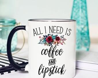 Coffee and Makeup Mug, Coffee and Lipstick Mug, Coffee and Mascara Mug, Makeup Mug, Contour Makeup, Gift for Makeup Artist, Makeup Quote