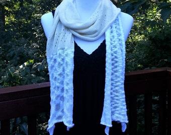 Boho Scarf. White and Cream Summer scarf. Cotton Handmade Scarf.