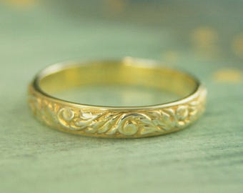 Gold Plated Silver Ring~Going Baroque Band~Patterned Ring~Vine Ring~Floral Ring~Plated Wedding Band~Vintage Look Ring~Plated Leaf Ring