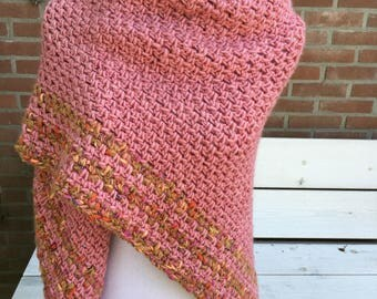 Rosy, warm triangle shawl / wrap with a bit of glamourglitter, large: 245cm wide