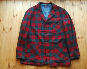 Vintage Pendleton Plaid Checked Lightweight Wool Flannel Blazer Jacket Large Made in USA