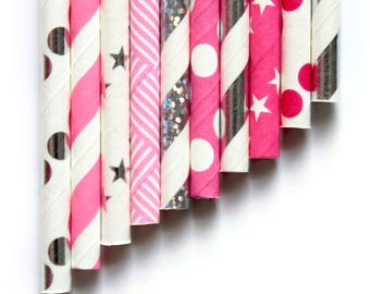 10 Pink And Silver Foil Paper Straws ~ 1st Birthday ~ Hen Party Paper Straws ~ Bridal Shower Paper Straws ~ Pink And Gold Paper Straw Mix ~