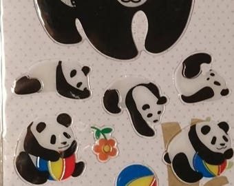Giant Panda Sticker Sheet/ gel stickers, kawaii, 1 large sticker+ assorted  mini pandas/ scrapbook, planner stickers