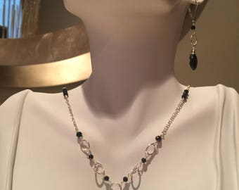 Black Spinel and Sterling Silver Drop Necklace