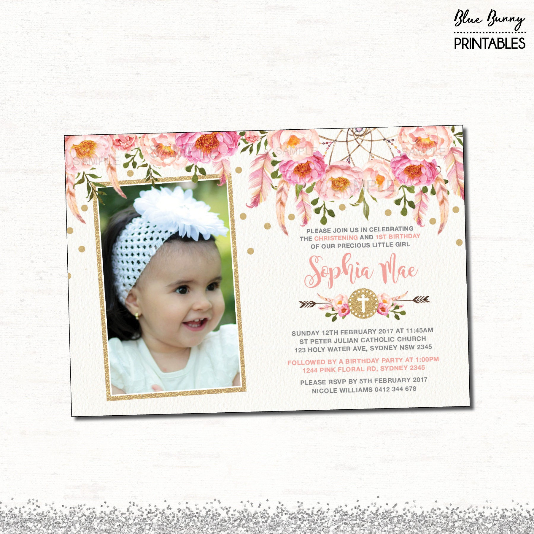 Baptism And Birthday Invitations