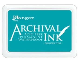 Ranger Archival Ink Paradise Teal - Blue Ink - Archive Ink - Teal Archive Ink - Ranger Blue Ink - Permanent Blue Ink - Waterproof Ink