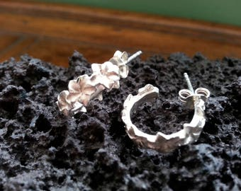 Vintage Sterling Silver Hibiscus Stud Hoop Earrings