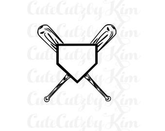 baseball svg, softball svg, Base and bat- baseball svg