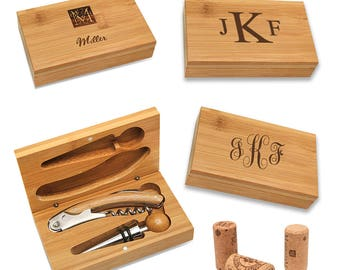 Personalized Wine Accessory Gift Set - Wine Accessories Set - Bamboo 2 Piece Wine Tool Set - Wine Corkscrew and Stopper Set - Wedding Gift