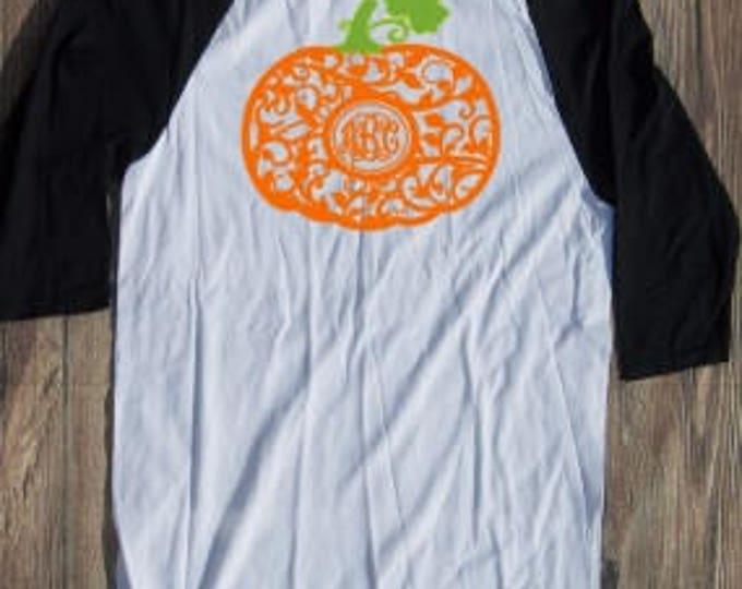 Pumpkin Monogram T-shirt Adult Raglan Fall Baseball Tee 3/4 Sleeve Vinyl Unisex Cotton Pumpkin Spice Orange Autumn Give Thanks Halloween