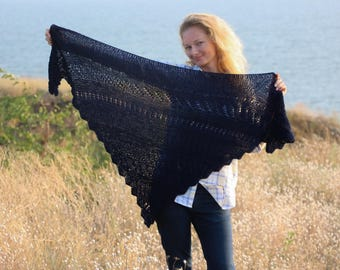 Triangle scarf crochet triangle shawl knit wedding shawl knit wedding scarf crochet boho shawl nursing cover scarf bridal shawl navy blue
