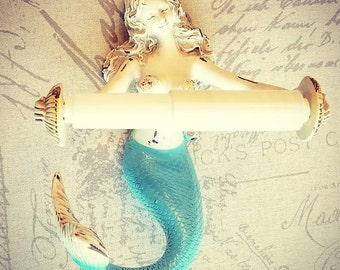 Mermaid Toilet Paper Holder, Mermaid Decor, Bathroom Decor, Mermaid Bathroom, Nautical Bathroom Decor, Nautical Decor, Mermaid Tail, Beach