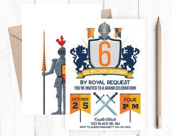 Knight Birthday Invitation, Royal Birthday Invitation, Knight Birthday Party, Royal Birthday Party,  Knight Invitations, Knight Invitation,