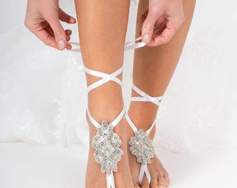 Crystal barefoot sandals foot jewelry, Rhinestone wedding accessories, Beach wedding Barefoot bride, Footless sandal, Wedding dancing shoes
