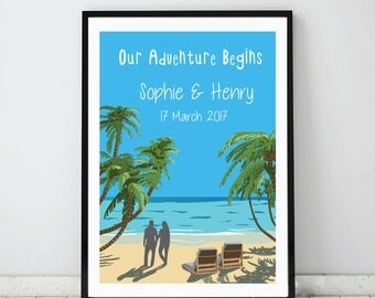 Beach Wedding art print, Custom Wedding gift, Personalized beach theme print, Unique engagement gift