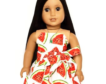 Flare Skirt, Sash Belt, Watermelon, Red, White, Green, Fruit, Fits dolls such as American Girl, 18 inch Doll Clothes, Mix and Match