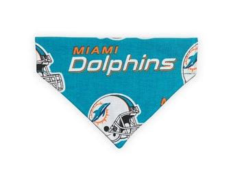 Miami Dolphins Dog Bandana // Over The Collar Dog Bandana // Small - Medium - Large